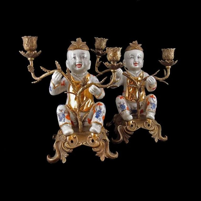 Pair of Chinoiserie Figural Porcelain and Ormolu Two Arm Candelabra - Image 2 of 9