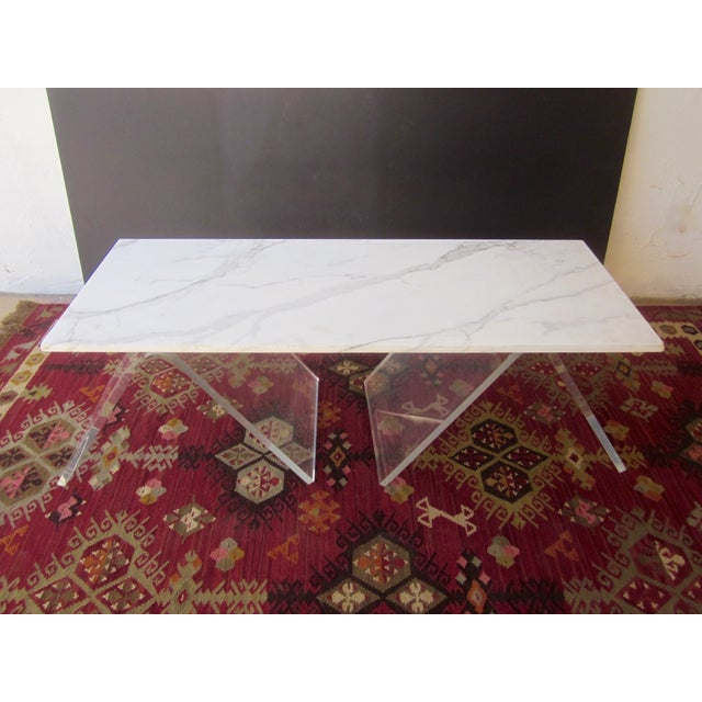Italian Lucite & Marble Coffee Table - Image 4 of 11