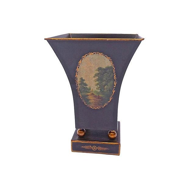Image of Antique Tole Scenic Tapered Cachepot