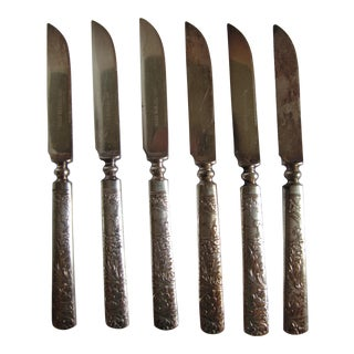1847 Rogers Bros. Embossed Fruit Knives - 6 Pieces