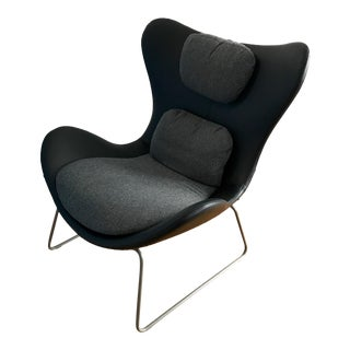 Black Leather Calligaris Lazy Armchair