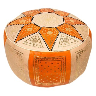 Orange Traditional Moroccan Pouf