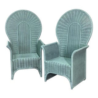 Vintage Peacock Chairs - a Pair Bamboo Wicker