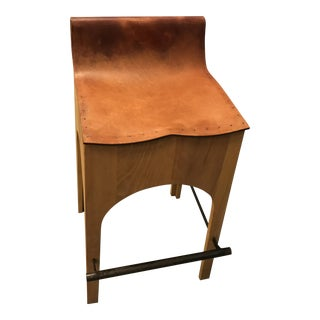 Lostine Wood & Leather Bar Stool