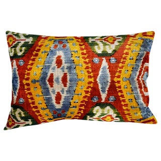 Silk Velvet Double-Sided Ikat Pillow