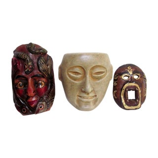 Decorative Carved Masks & Buddha Statue - Set of 3