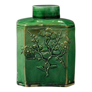 Early Staffordshire Green Glazed Tea Caddy