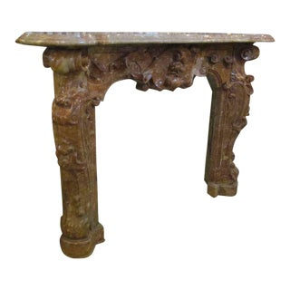 19th C. Hand Carved Baroque Duquesa Rosa Brown Marble Mantel