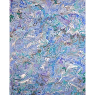 """Trixie Pitts Extra-Large Mesmerizing Abstract Oil Painting """"Shallow Waters"""""""