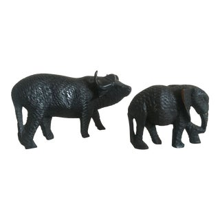 Vintage African Mid-Century Hand Carved Ebony Water Buffalo & Elephant Figures- A Pair