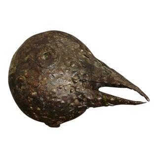 Brutalist Style Minimalist Black Bird with a Long Beak on a Wood Base