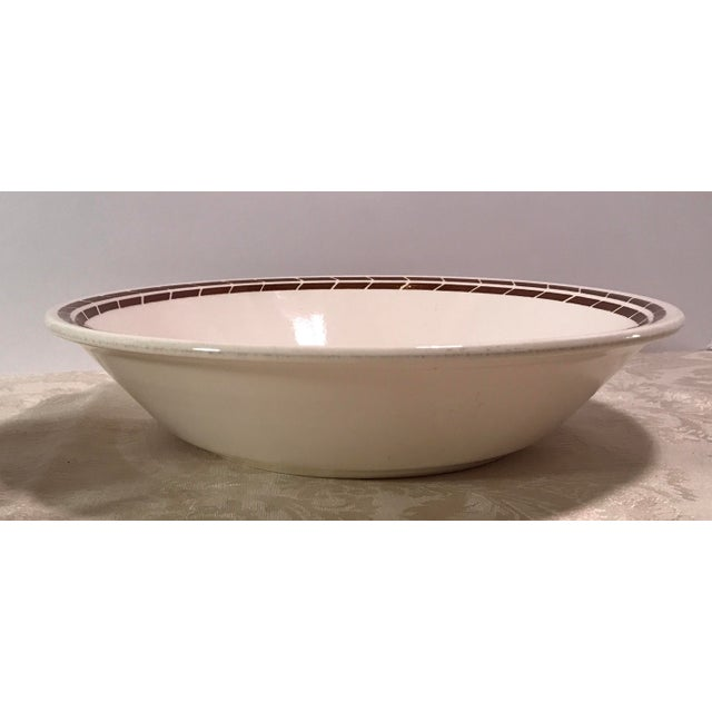 Mid-Century Modern Cream & Brown Wheat Serving Bowl - Image 5 of 8