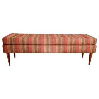 Mid-Century Style Pink Striped Bench