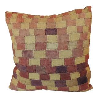 Vintage Pink African Kuba Cloth Decorative Pillow