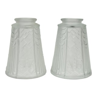 French Art Deco Sunburst Design Frosted Glass Shades - Set of 2