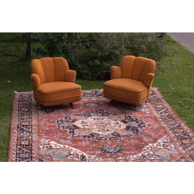 A Shapely Swivel Seat Inspired By Mid Century Design Our: Mid-Century Scalloped Slipper Swivel Chairs