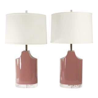 Karl Springer Mauve Patent Leather Lamps - A Pair