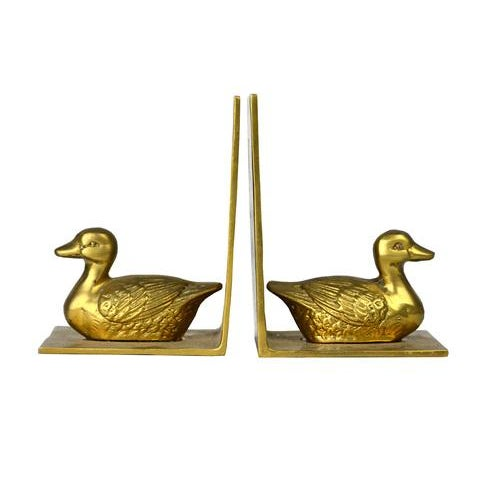 Image of Vintage Cast Brass Duck Bookends - A Pair