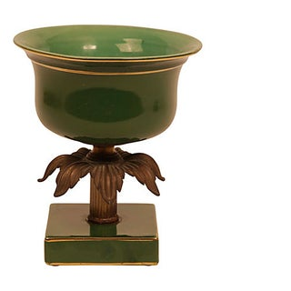 Forest Green Ceramic & Bronze Bowl