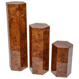 Hexagonal  Burl Wood Pedestals - Set of 3