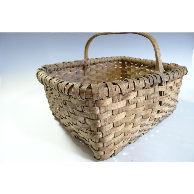Image of Antique Splint Oak Gathering Basket