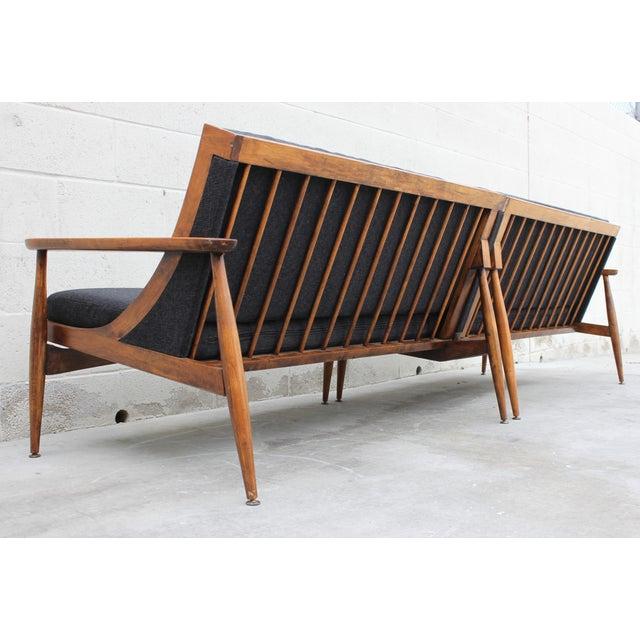 Walnut Danish Minimalist Spindle Back Sectional Sofa - Image 2 of 11