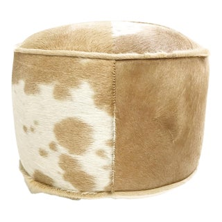Forsyth One of a kind Palomino and White Brazilian Cowhide Pouf Ottoman