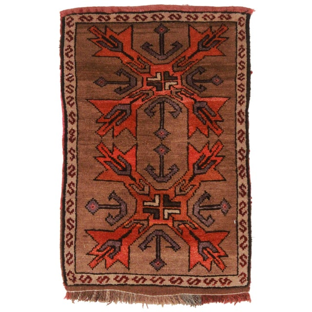 """Hand Knotted Wool Turkish Rug - 1' 10"""" X 2'10'' - Image 1 of 2"""