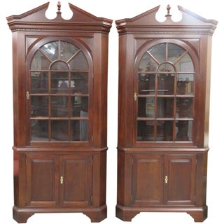 Stickley Lit Display Corner Cabinets - A Pair