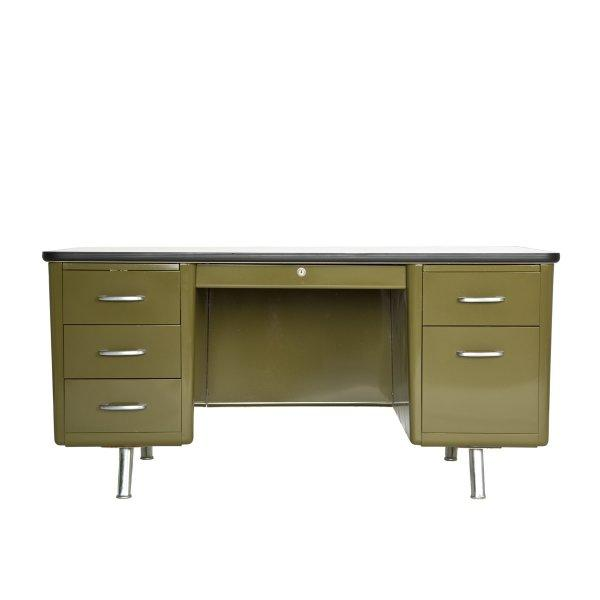 Image of Steel Top Tanker Desk in Olive Green