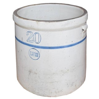 American Blue Band Stoneware Crock