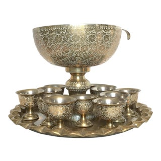 Vintage Brass Etched Punch Bowl Set