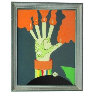 """Bird in Hand"" Reverse Glass Painting, 1975"