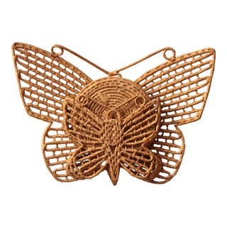 Wicker Butterfly Trivet Set with Holder