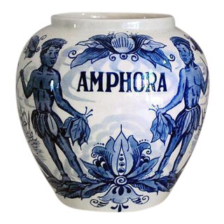 Vintage Blue and White Delft Amphora Humidor Vase