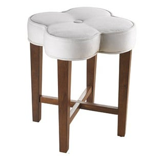 White Clover-Shaped Upholstered Vanity Stool
