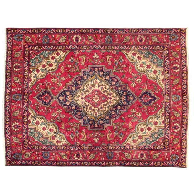 "Vintage Red & Blue Persian Rug - 4'8"" X 6'3"" - Image 1 of 4"