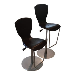 Brown Leather Adjustable Stools - a Pair