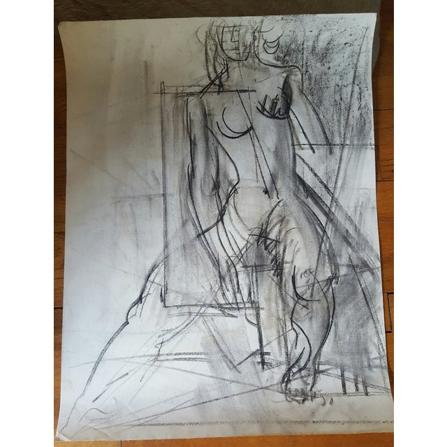 Charcoal Abstract Female Nude Drawing - Image 3 of 3
