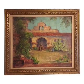 Large Vintage Mission Oil Painting on Silk Faille