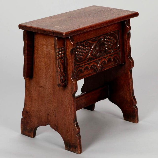 French Hand Carved Oak Stool with Grapes - Image 4 of 9