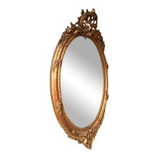 19th Century Louis XV Carved Gold Leaf Oval Mirror