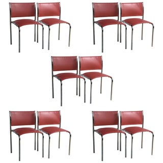 Thonet Chrome & Leather Side Chairs - Set of 10