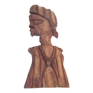 African Carved Woman Wall Sculpture