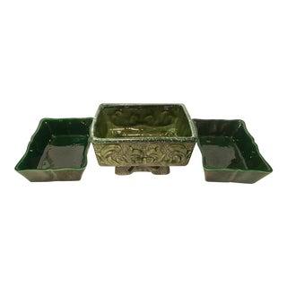 Mid-Century Green Ceramic Planters - Set of 3