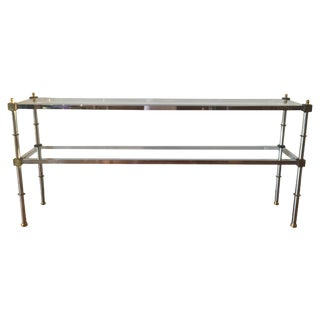 1970s Chrome, Brass & Glass Console Table