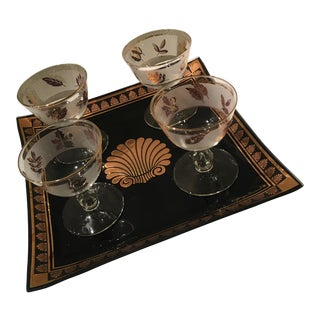 Briard Mid-Century Tray & Glasses - Set of 5