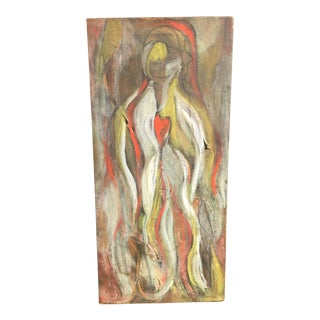 """Mid-Century """"Heart Boheme"""" Oil Painting"""