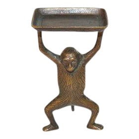 Vintage Brass Monkey Butler Business Card Holder