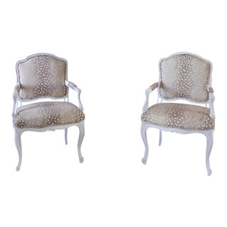 Axis Antelope French Victorian Parlor Chairs - a Pair